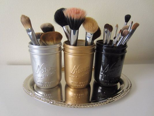 gold silver black mason jar makeup brush holder office. Black Bedroom Furniture Sets. Home Design Ideas