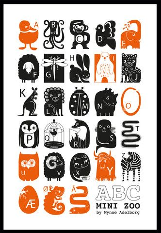 ABC Plakat, A1 – Mini Zoo by Nynne Adelborg