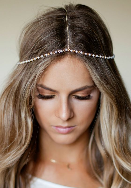 CHAIN HEADPIECE- pearl and gold chain headdress head piece - product images  of