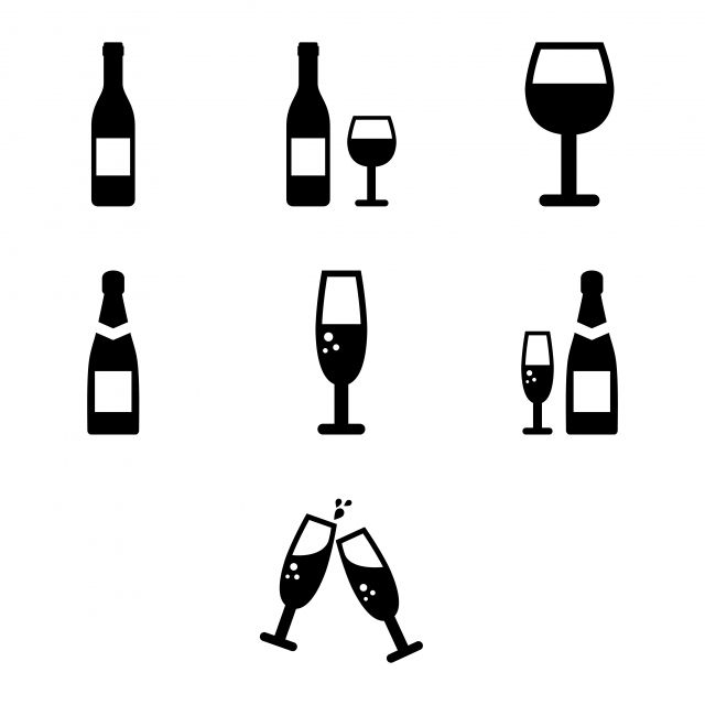Wine And Sparkling Wine Bottles And Glasses Icon Set Vector And Png Icon Set Wine Bottle Sparkling Wine