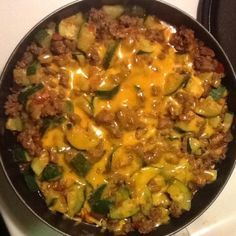 Zucchini and Ground Beef Casserole Add chili powder ---the cheese on this looks kinda yucky but it's probably just the photo