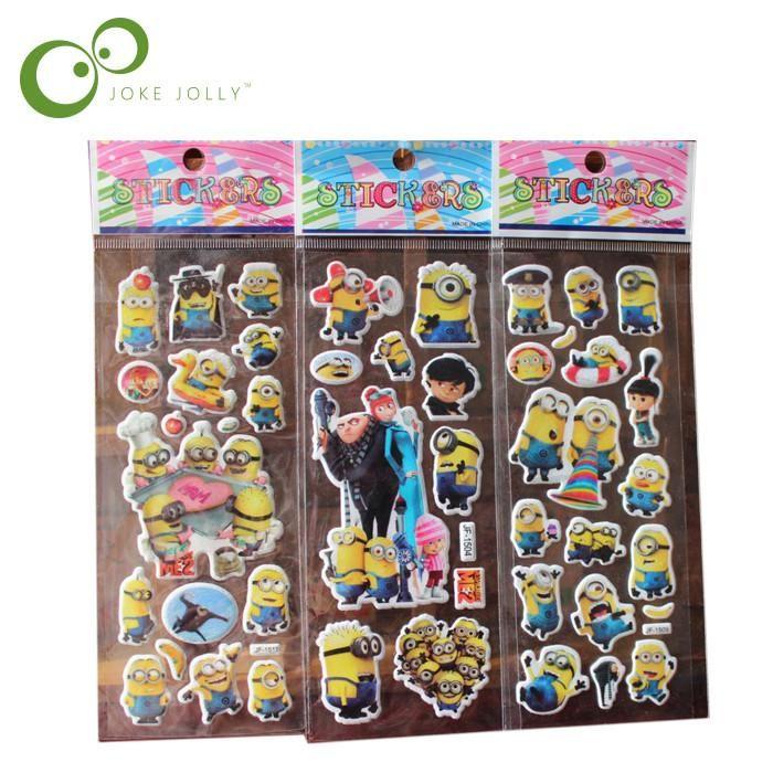 5pcs/lot Bubble Stickers 3D Cartoon the little yellow man Classic Toys Scrapbook For Kids Children Gift Reward Sticker GYH
