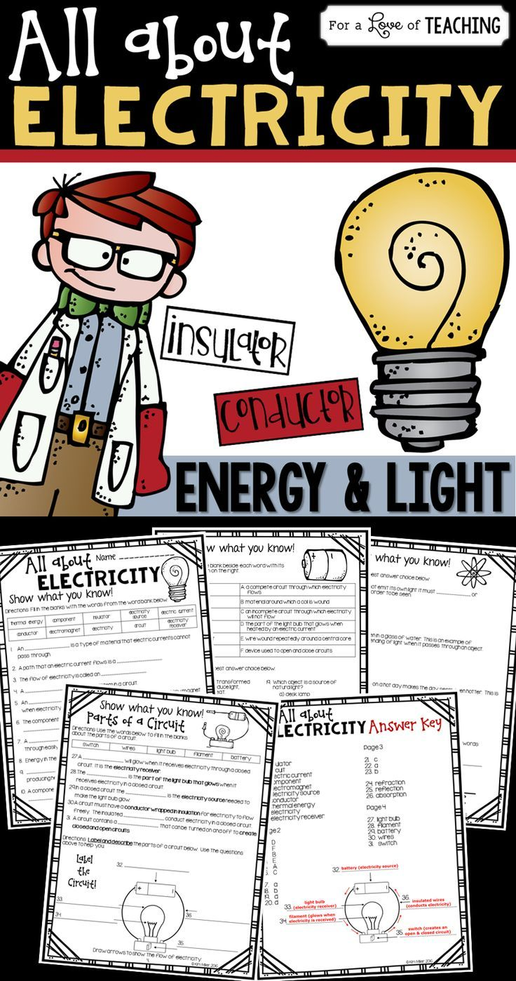 All About Electricity (Energy & Light) works great as desk work, center work, or as a test. Includes 35 open-ended and multiple choice questions about electricity. Use as a supplement to any electricity unit.