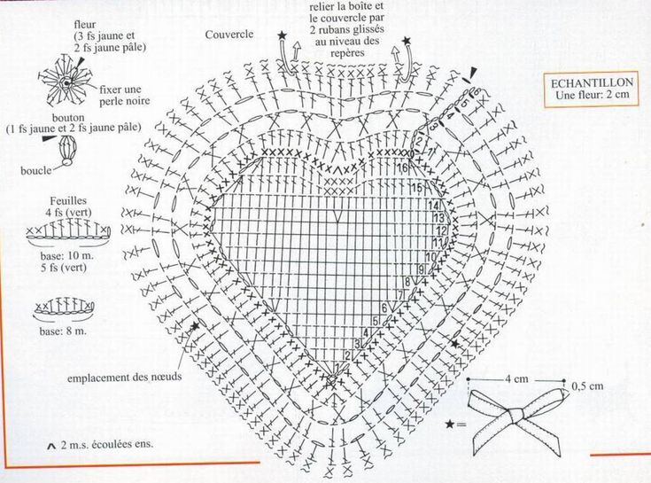 Шкатулка валентинка связанная крючком.Описание и схемы. - Perchinka63