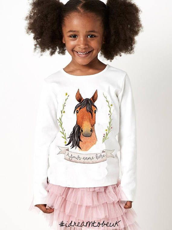Horse long sleeve top  long sleeved T-shirt personalised