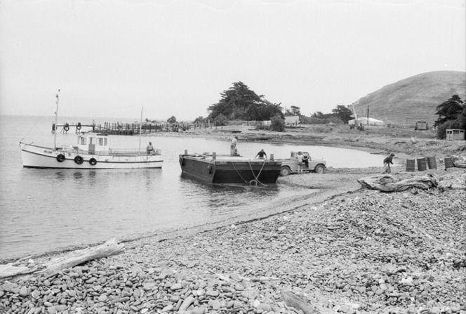 People and equipment landing on Mana Island, Porirua, New Zealand