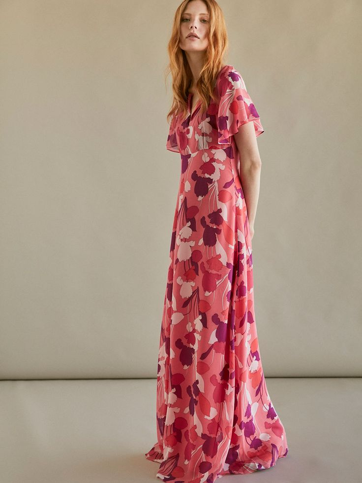 Autumn Spring summer 2017 Women´s LONG FLORAL PRINT DRESS at Massimo Dutti for 150. Effortless elegance!