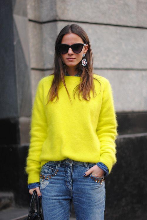 Neon fuzzy sweater and ladylike earrings