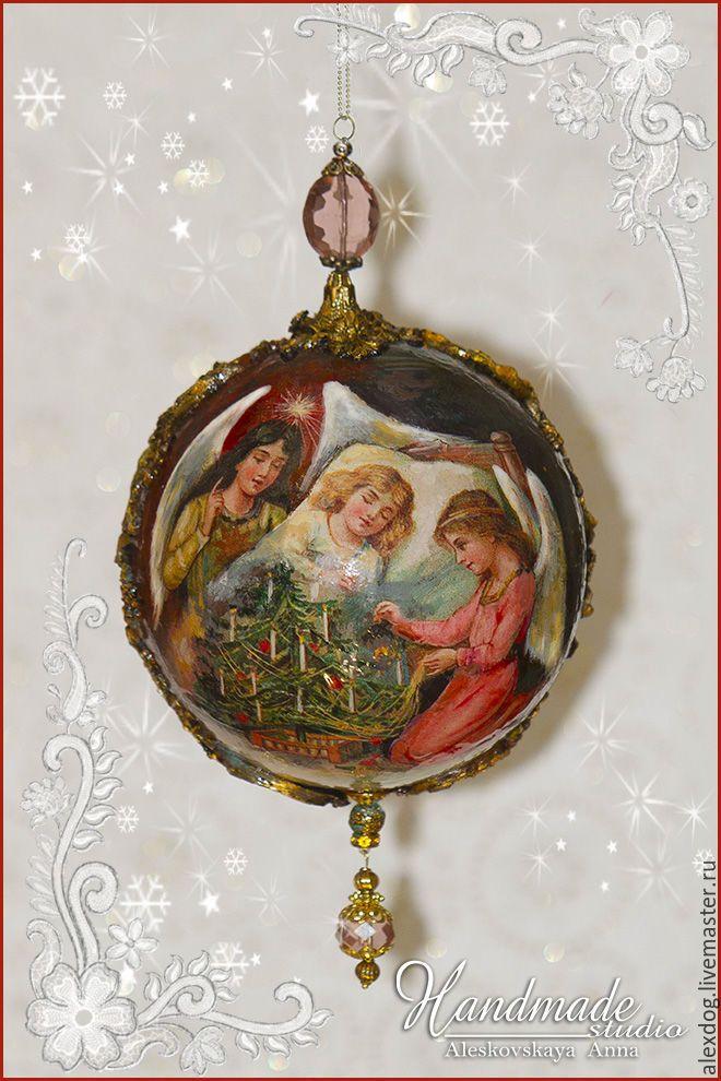 """Купить Шар елочный - сувенирный, новогодний - """"Рождественские ангелы"""" - золотой, новый год 2017, шар на елку"""