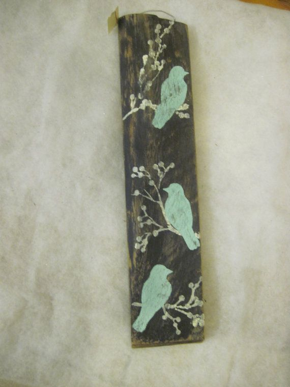 Black simple country blue Aqua Birds Wall Decor Sign on Old Barn Wood