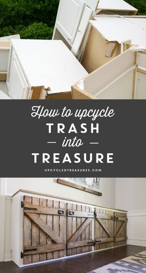 How to upcycle trash into treasure! See how a thrown out cabinet is transformed into an upcycled barnwood style sideboard. upcycledtreasures.com