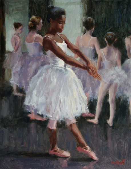 "I wish I had this. Sue Foell - Rehearsal Watching my daughter's dance company rehearse for the Nutcracker ballet last year gave me plenty of material to paint from. This piece was during the ""Snow"" scene rehearsal – there were girls standing around and socializing and then there were girls who took this practice more seriously!"