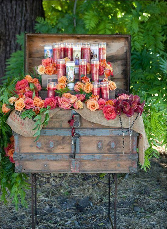 super cute ideas with the wedding colors plus a picture frame in the center of someone special who has passed and cant be there that day