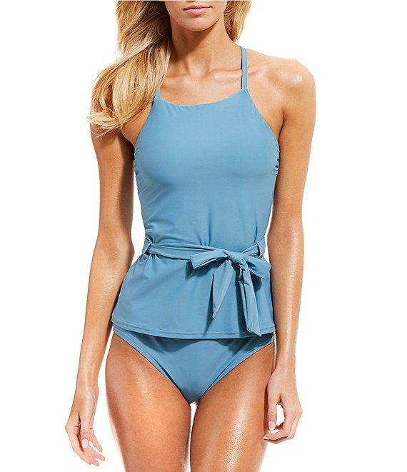 Antonio Melani Solid Lagoon High Neck Belted Tankini Swimsuit Top Classic Swimsuit Bottom Dillard Tankini Swimsuits For Women Tankini Tankini Swimsuit Top