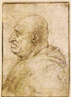 """""""Caricatura di un uomo calvo Vecchio"""", inchiostro di Leonardo Da Vinci (1452-1519, Italy)"""