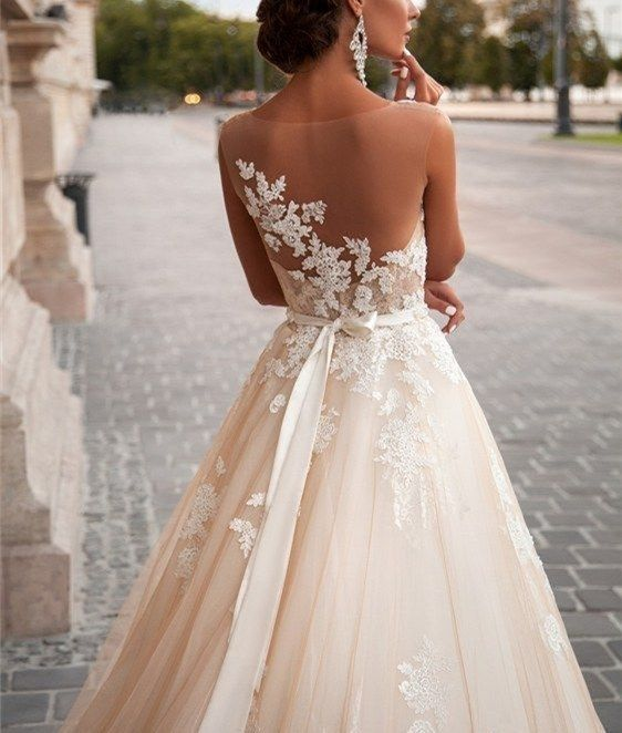 Noble Lace Wedding Dress,Sexy Open Back Wedding Dress,Charming Applique wedding Dress