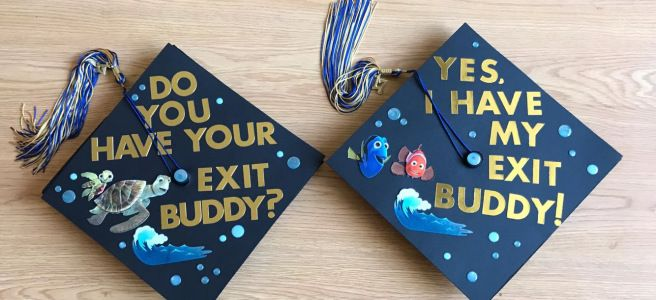 Hey guys! Check out my DIY post with steps to create these awesome couples / best friends finding nemo grad caps!  #findingnemo #nemo #gradcaps #gradcap #graduation #graduationcap #gradcapdesigns