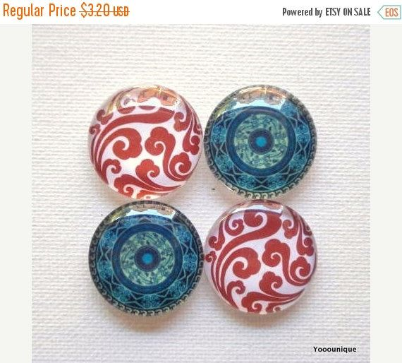 10% OFF  4pcs 25mm Handmade Vintage Glass Photo by yooounique