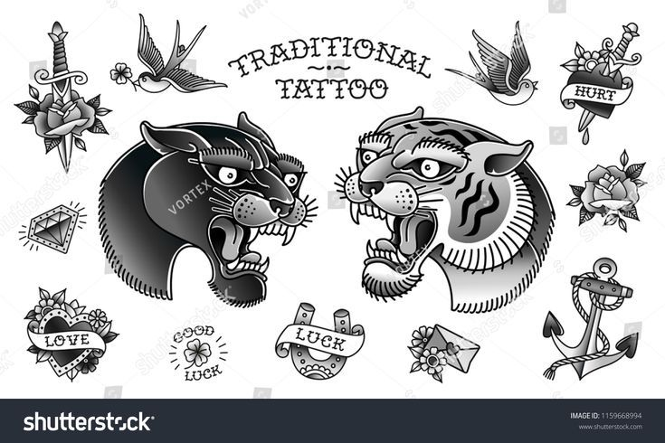Panther Head With Tiger Head And Traditional Tattoo Black And White Objects Coll Traditional Tattoo Black And White Black Tattoos Traditional Tattoo
