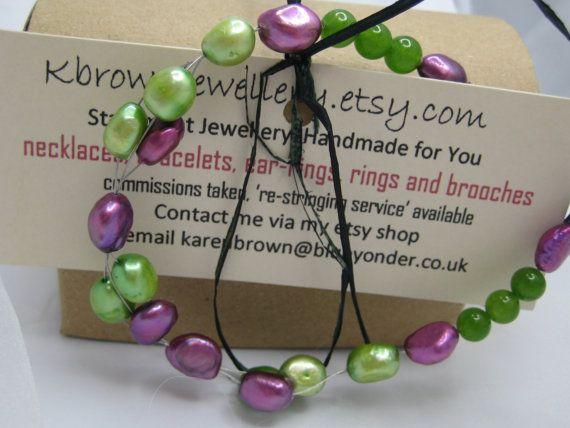 Spring Pearl Bracelet Beadwork Bracelet by KBrownJewellery on Etsy, £21.00