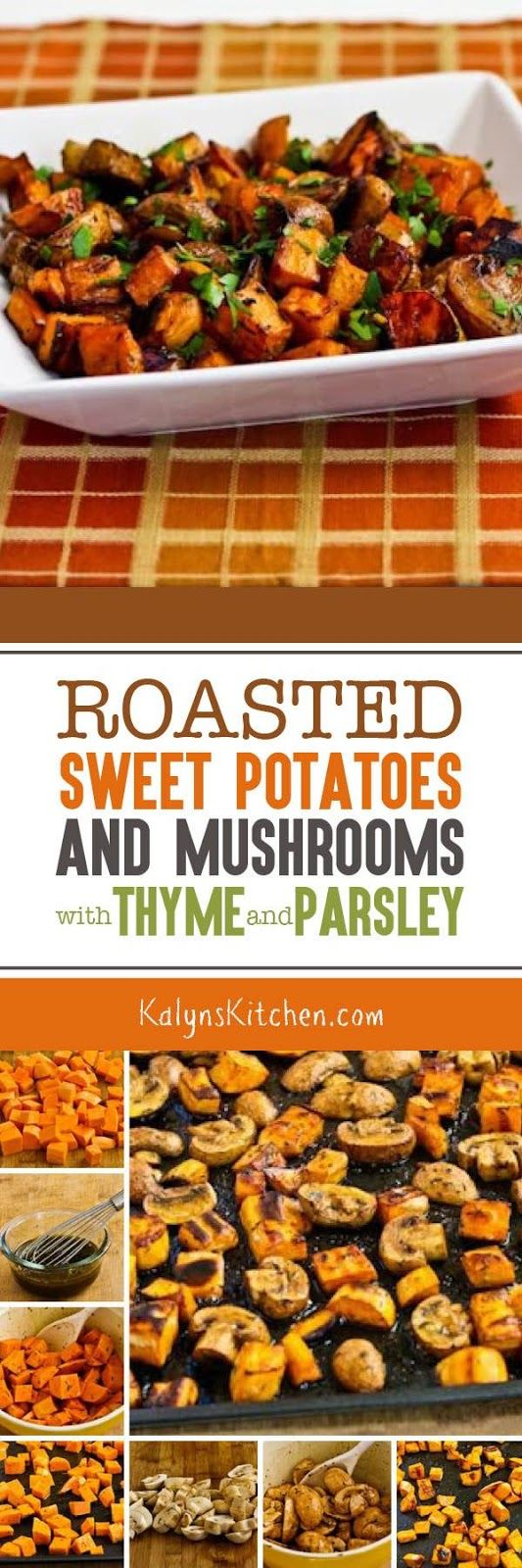 Roasted Sweet Potatoes and Mushrooms with Thyme