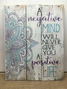 Rustic Pallet Wall Art - Mandala Sign - Positivity Quote - Wood Wall Art…