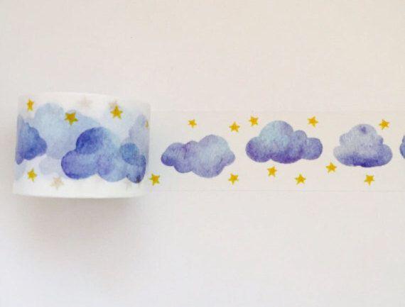 Cloudy night sky watercolour washi tape $5.07