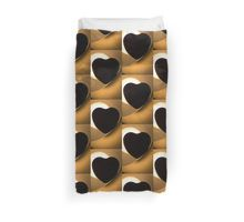 Love heart shape silhouette abstract photo Duvet Cover