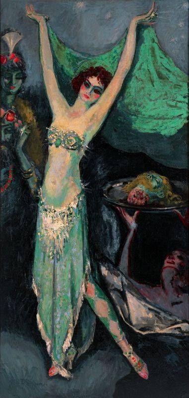 """""""Salomé"""", Kees Van Dongen (1920). Der Fauvist kam durch Auftragsarbeiten zahlreicher Frauenporträts in den goldenen 20er Jahren zu Erfolg und schloss sich den mondänen Kreisen an, die am Montparnasse verkehrten. 1929 wurde er französischer Staatsbürger."""