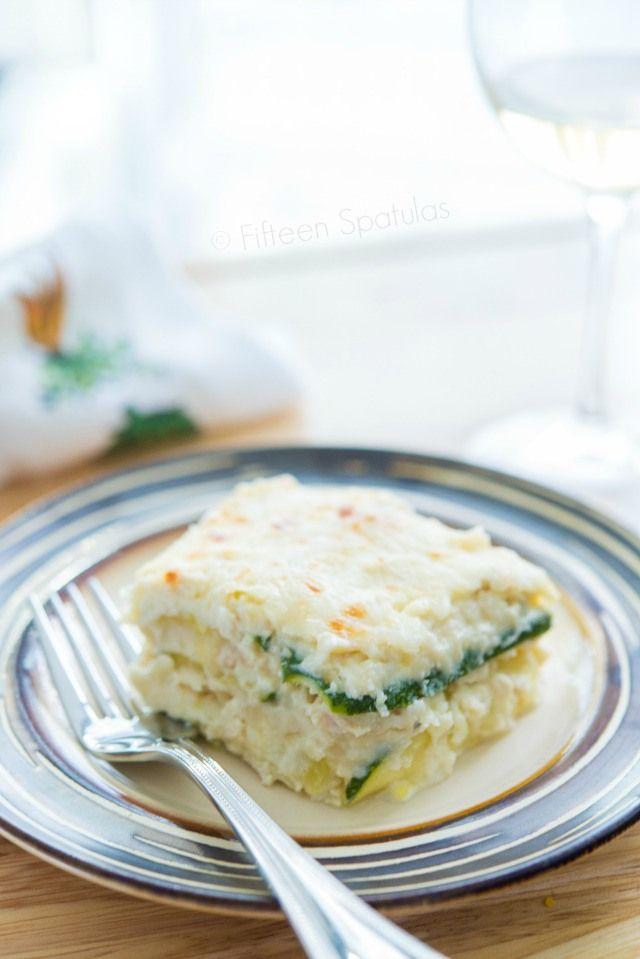 Delicious! Zucchini Noodle White Chicken Lasagna ::: @FifteenSpatulas #kitchenconvo