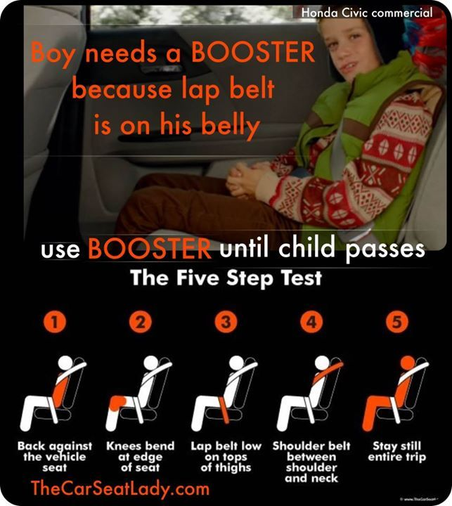 A child *must* pass the 5 step test before ditching the booster.  Children's bones are smaller and more fragile than our adult bones.
