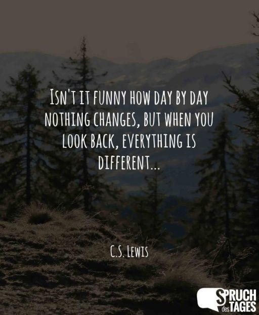 Isn't it funny how day by day nothing changes, but when you look back, everything is different...