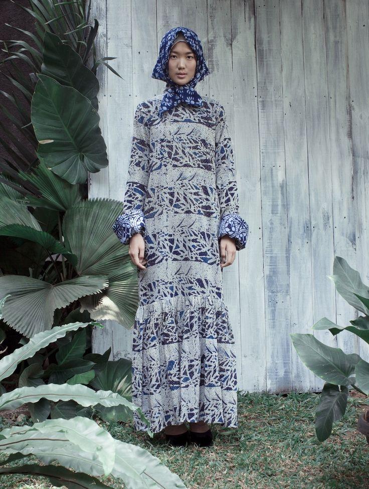 Atlantic bamboo batik print dress inspired by old japanese pattern