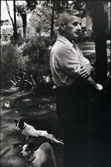 William Faulkner photographed by Henri Cartier-Bresson (Oxford, Mississippi, 1947) via Men and Their Dogs #william_faulkner #dog #black_and_white