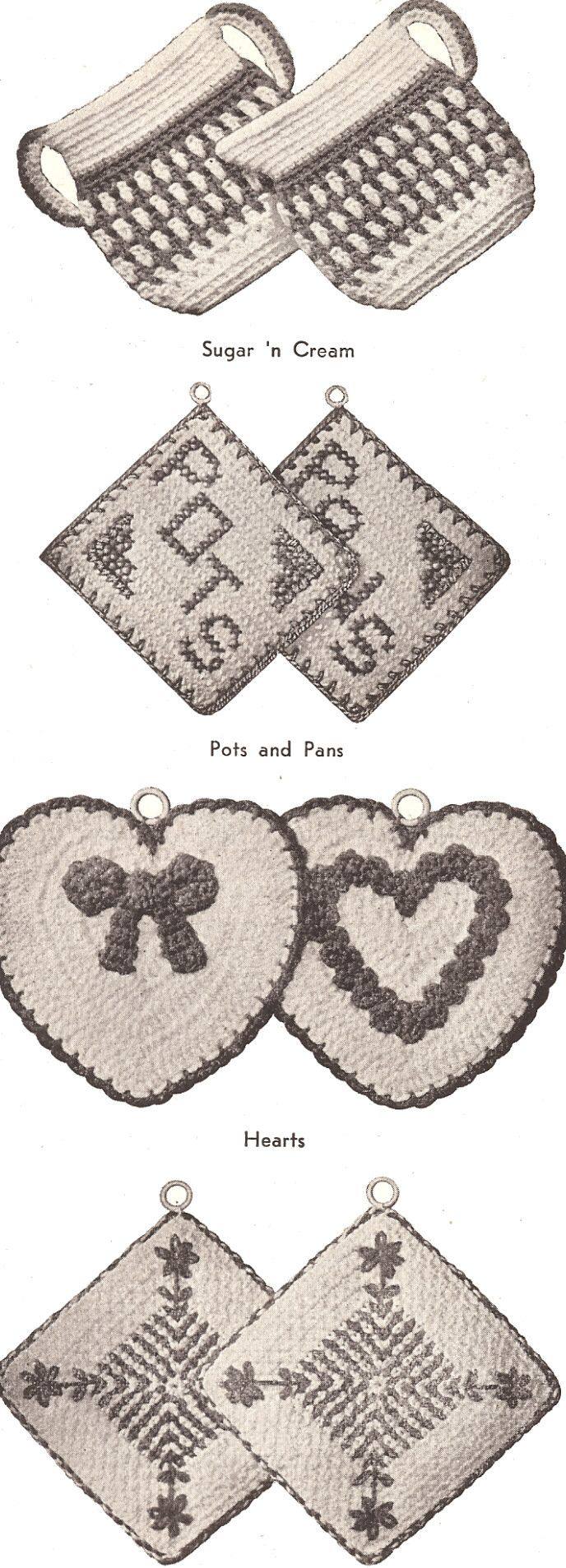 Crochet Pot Holder VIntage Retro Heart Hot Pad Pattern