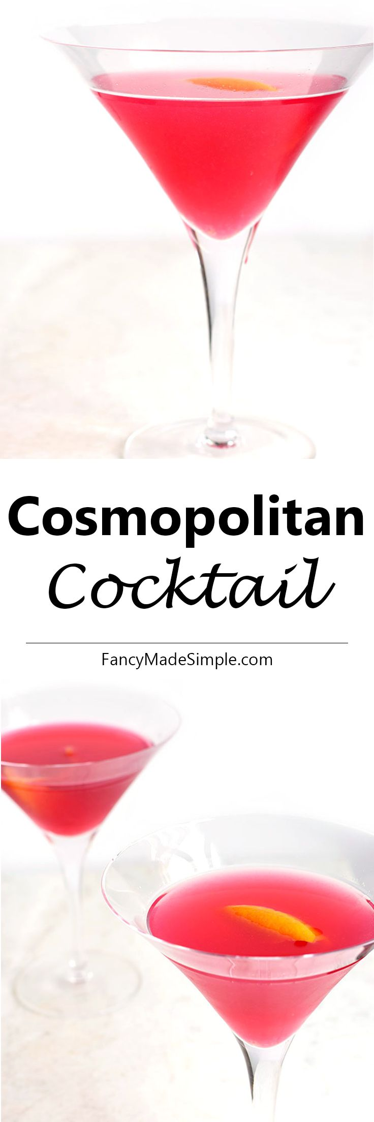 The slightly tangy, delicious and pink Cosmopolitan Cocktail recipe. This vodka drink is perfect for a girls night or bachelorette party and is served in a classy martini glass.