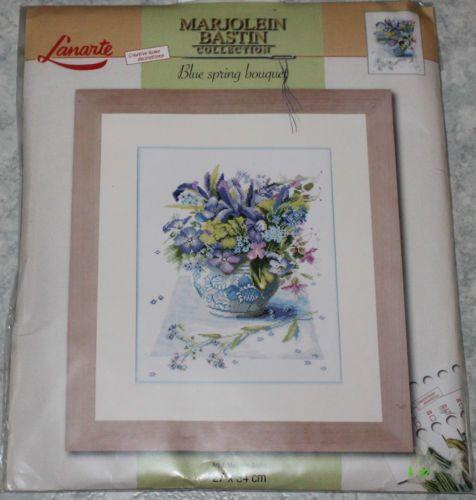 Blue-spring-bouquet-NIP-RARE-Lanarte-cross-stitch-kit