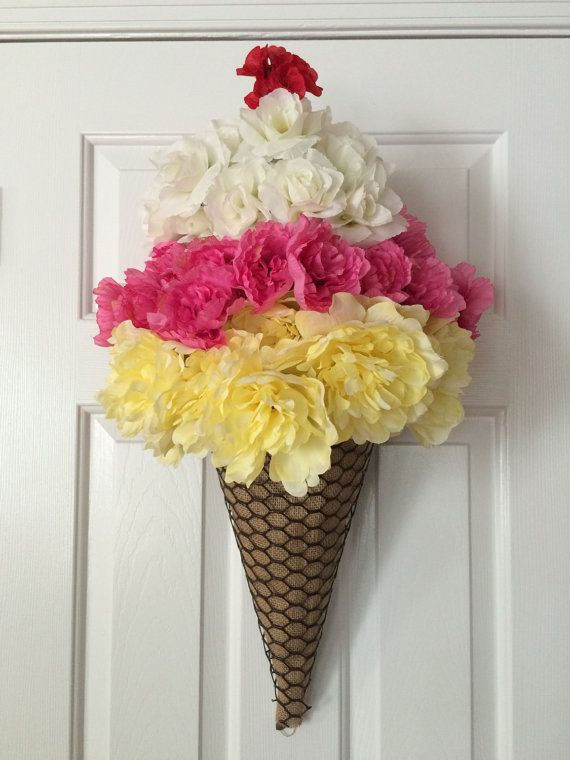 Ice Cream Cone Wreath Summer Wreath Ice Cream Door