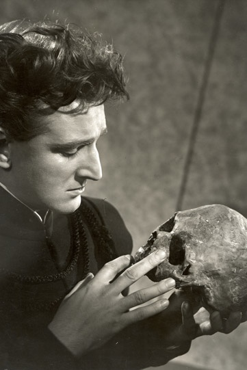 1956 - 'Hamlet' Alan Badel in the title role, RSC, directed by Michael Langham, designed by Michael Northern, with costumes by Desmond Heeley.  Photo by Angus McBean.  via  http://www.rsc.org.uk/whats-on/hamlet/past-production-photos.aspx#