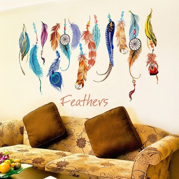 (Amazon FBA) Dreamcatcher meaning is to get rid of nightmares and evil spirits. All items come in sections and can be positioned as you wish.  Material: PVC/Vinyl  Product size: 50cm(h) * 70cm(w)  Display size: 48cm(h) * 74cm(w)  Net weight: About 100g  Color: As the display pictures