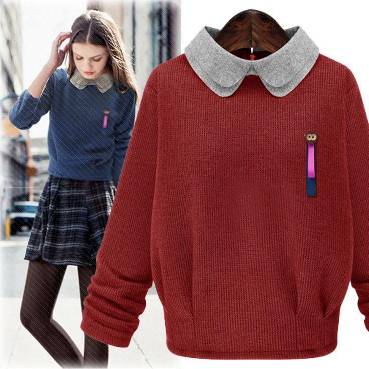 Plus Size Doll Collar Long Sleeve Knit Joker Loose Sweater
