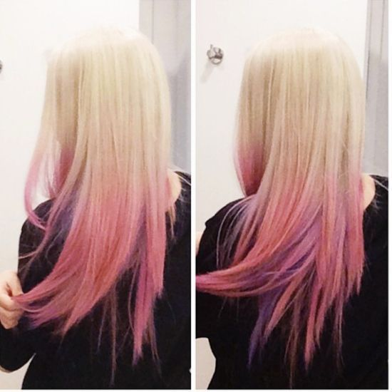 blonde pink & purple ombre