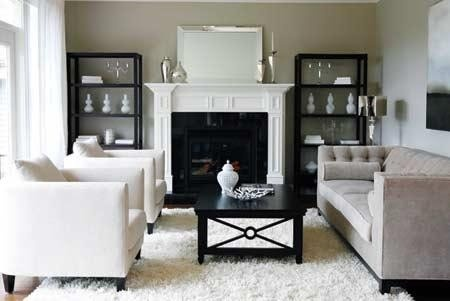 more on the formal side - grey white black living room