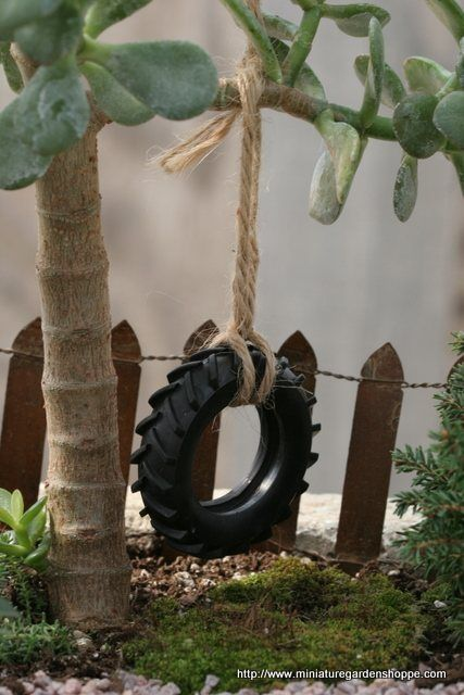 Tire Swing - Miniature Garden Shoppe . Note that link has a list of plants for miniature gardens