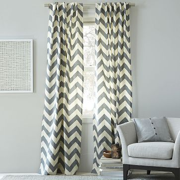 Cotton Canvas Zigzag Curtain - Feather Gray #westelm