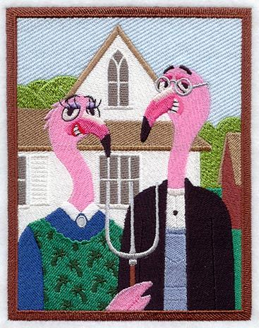 Floyd and Flossie Flamingo in an embroidered American Gothic parody.