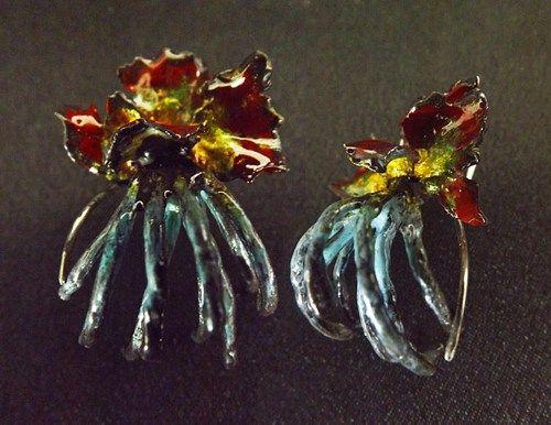 Jungle Enameled Sterling Silver Earrings, Flower, Oxidized, Unique.