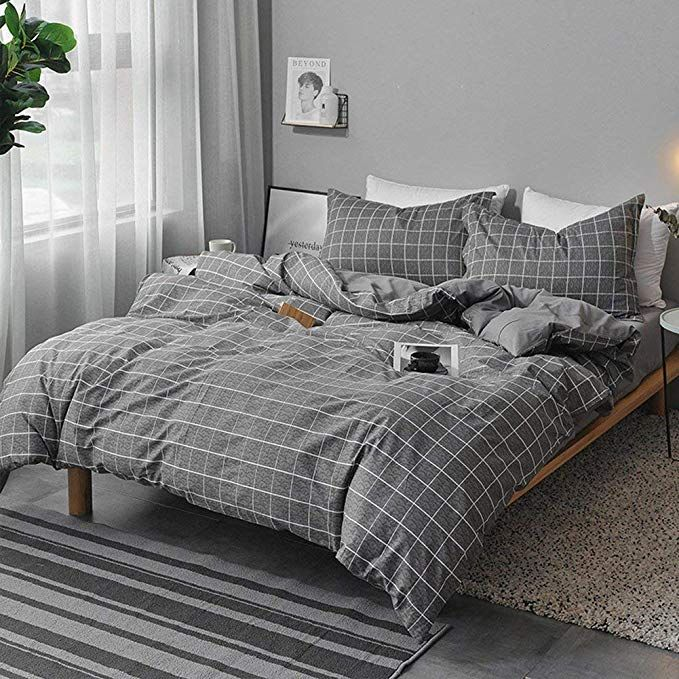 NANKO Twin Duvet Cover Set Gray Mint Green Striped Pattern Printed 2pc 68x90 Luxury Microfiber Down Comforter Quilt Bedding Cover with Zipper Closure Ties Modern for Men and Women Chambray