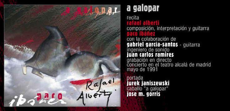 """A GALOPAR.  Doble CD testimonio del concierto dado en el teatro Alcalá de Madrid en 1991, por Paco Ibañez junto a Rafael Alberti, último representante de los poetas de la """"Generación del 27"""", nacido en 1902 y amigo de Federico García Lorca. Histórico recital a dos voces cuyo resultado es una sola poesía, única, indivisible. A GALOPAR  es como un símbolo de resistencia ante todos los poderes dictatoriales"""