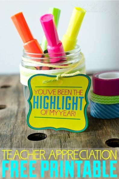 Free printable highlighter gift tag for teacher appreciation